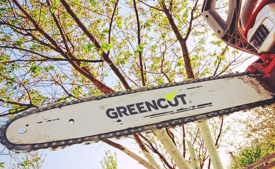 Motosierra Greencut cortando en el bosque