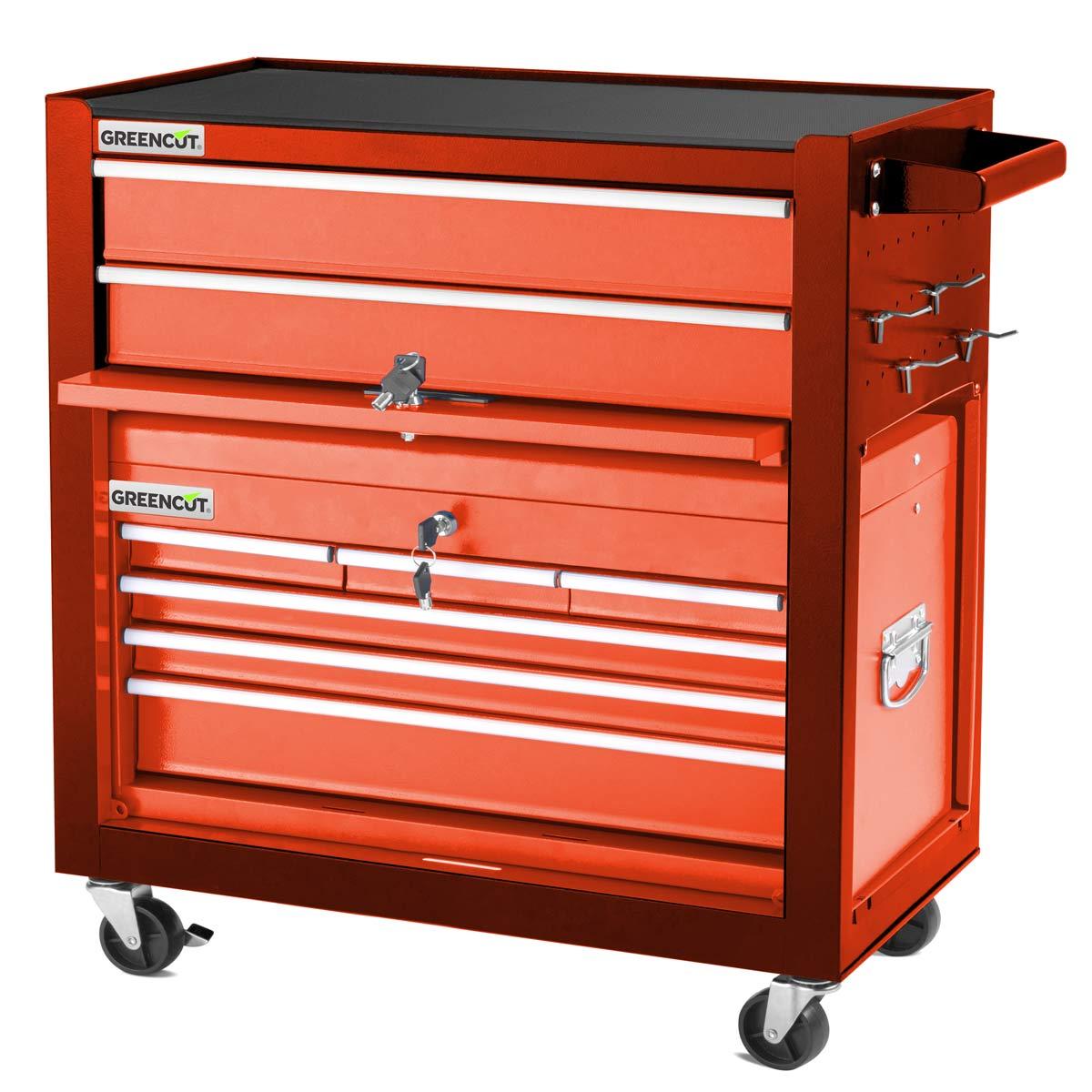 miniatura 17 - Carro para herramientas PRO armario acero 4 ruedas 10 cajones GREENCUT